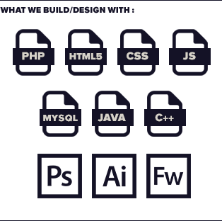 We code with PHP, MySQL, CSS, Javascript, HTML5, JAVA and C++. We use Photoshop, Illustrator and Fireworks for design work, and simple Notepad++ to code.