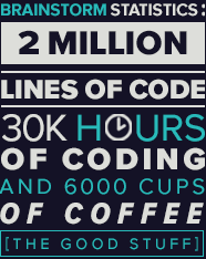 Brainstorm Statistics: 2 million lines of code, 30,000 hours of coding, and 6000 cups of coffee (the good stuff)